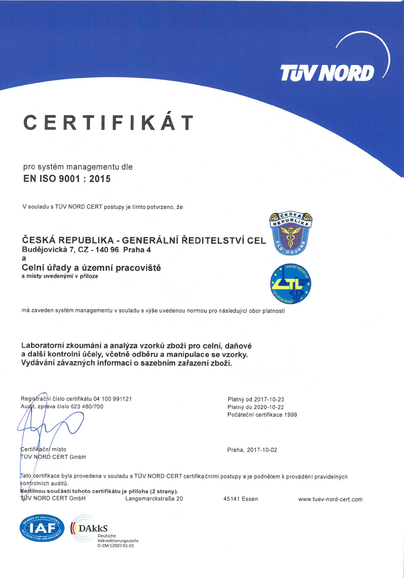 Certification And Accreditation Of The Quality System Customs